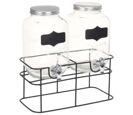 vidaXL Posode za pijačo 2 kosa s stojalom 2 x 4 L steklo