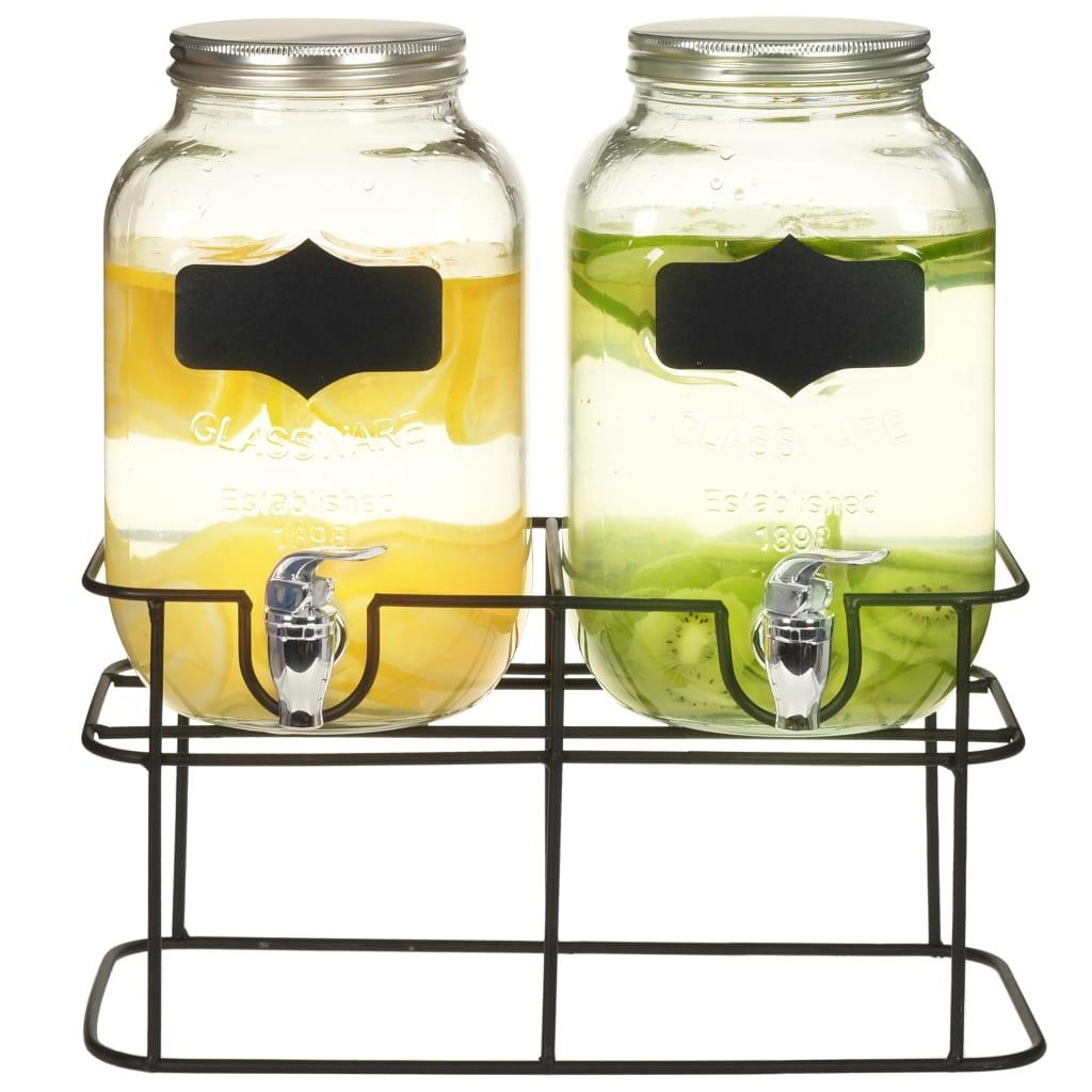 Dávkovače nápojů 2 ks se stojanem 2 x 4 l skleněné
