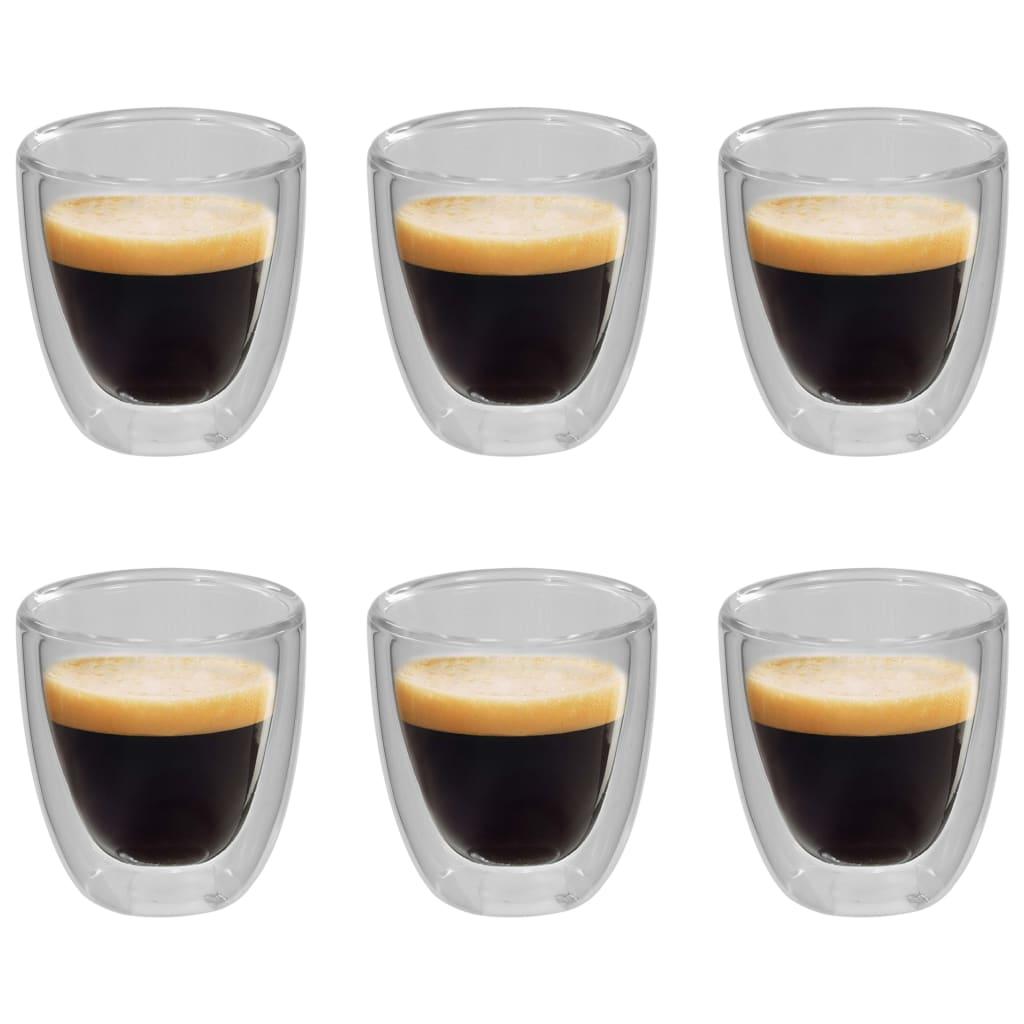 vidaXL Dvoustěnná termo sklenice na espresso 6 ks 80 ml