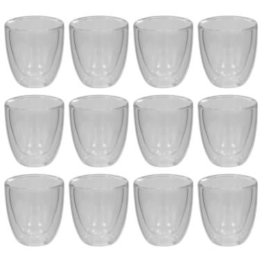vidaXL Dvoustěnná termo sklenice na espresso 12 ks 80 ml[2/4]