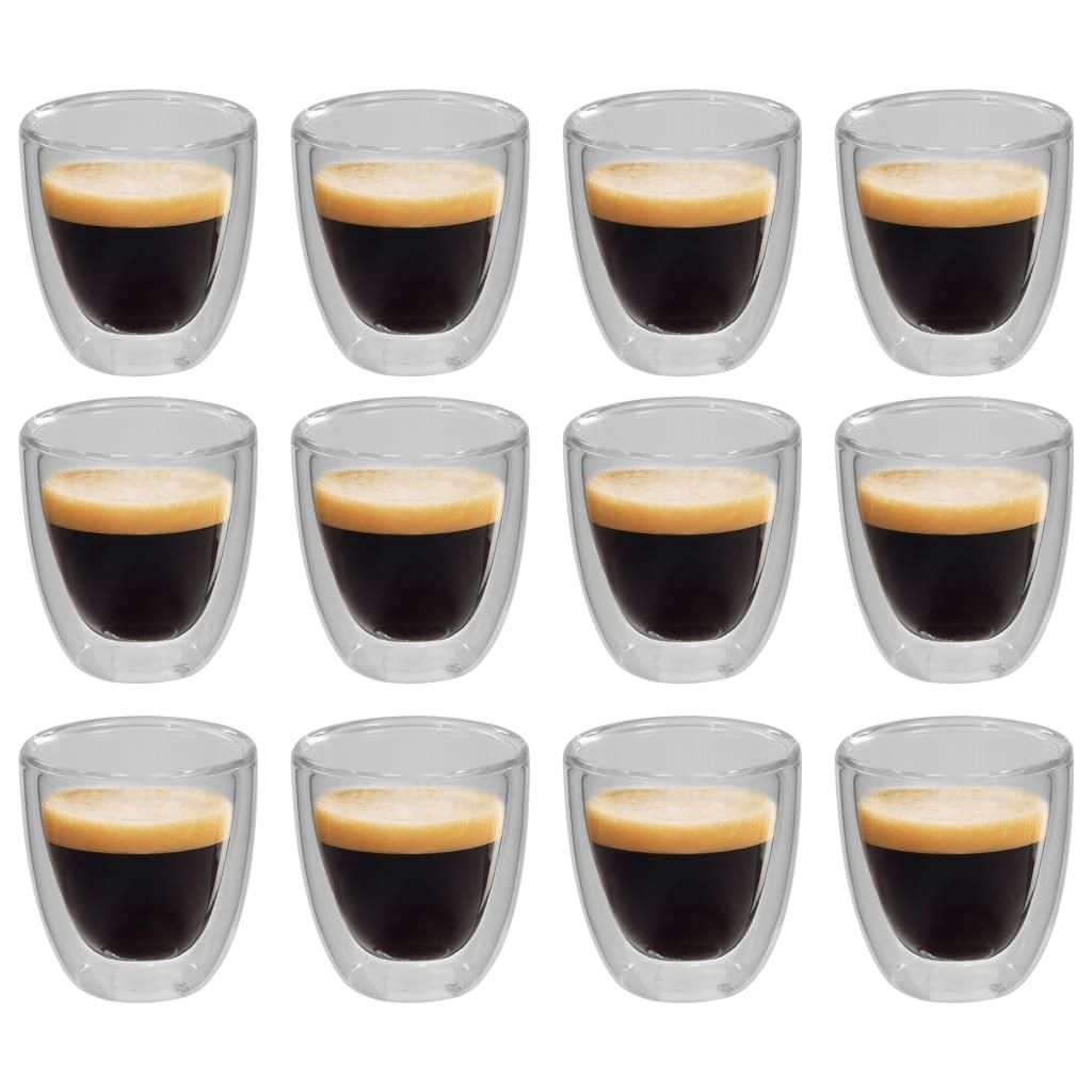 vidaXL Dvoustěnná termo sklenice na espresso 12 ks 80 ml