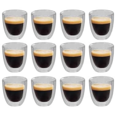 vidaXL Dvoustěnná termo sklenice na espresso 12 ks 80 ml[1/4]
