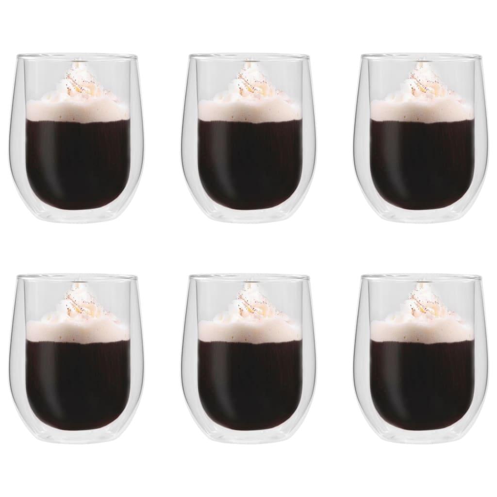 vidaXL Dvoustěnná termo sklenice na espresso 6 ks 320 ml