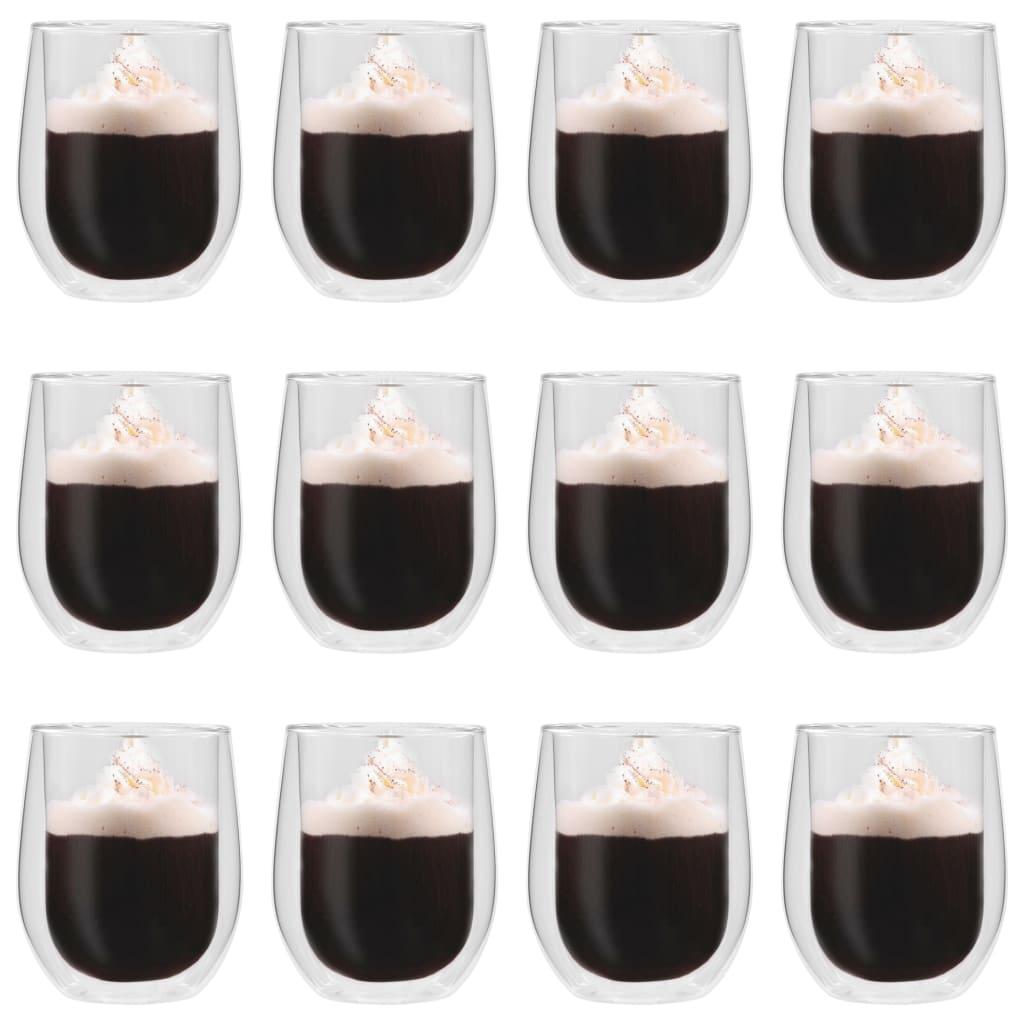 vidaXL Dvoustěnná termo sklenice na espresso 12 ks 320 ml
