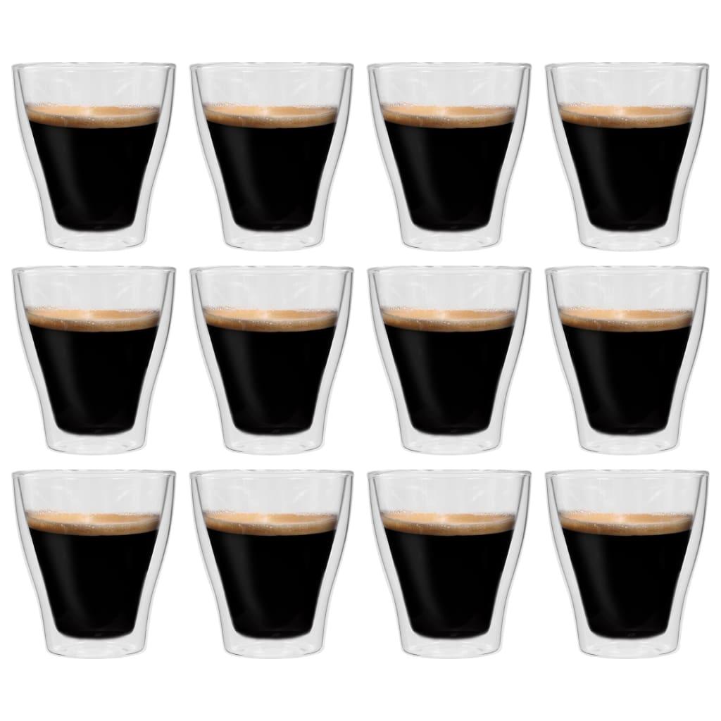 vidaXL Dvoustěnná termo sklenice na espresso 12 ks 280 ml