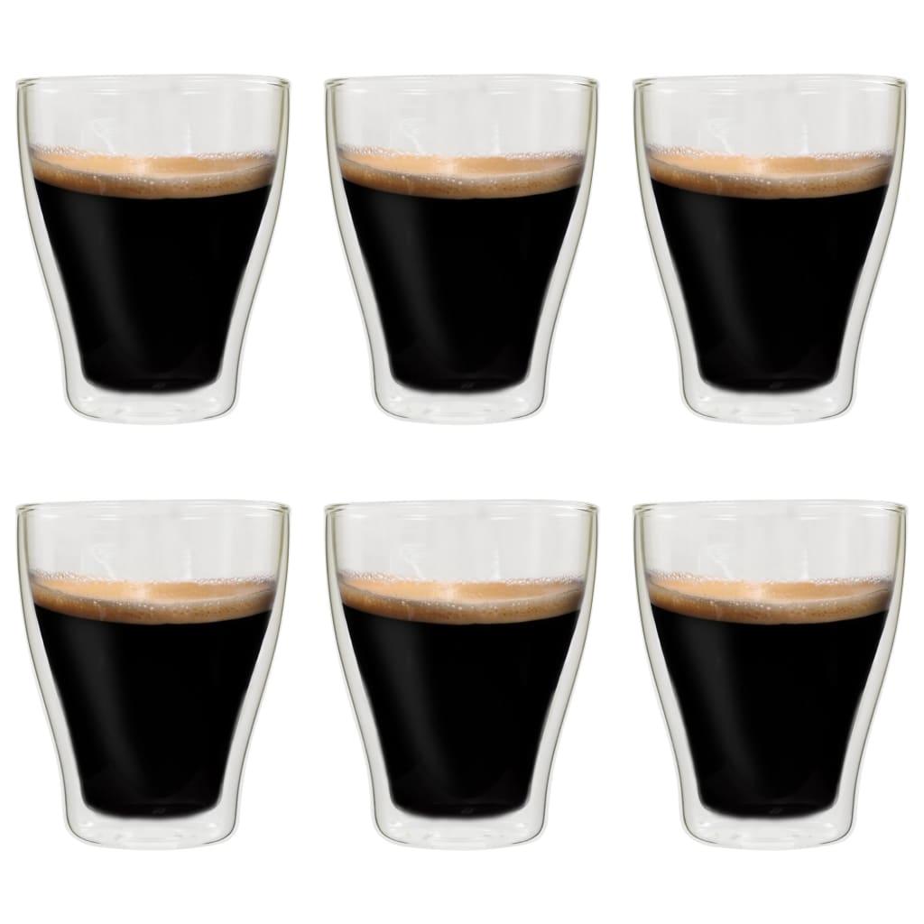 vidaXL Dvoustěnná termo sklenice na latte macchiato 6 ks 370 ml