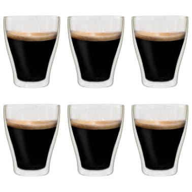 vidaXL Dvoustěnná termo sklenice na espresso 6 ks 370 ml[1/4]