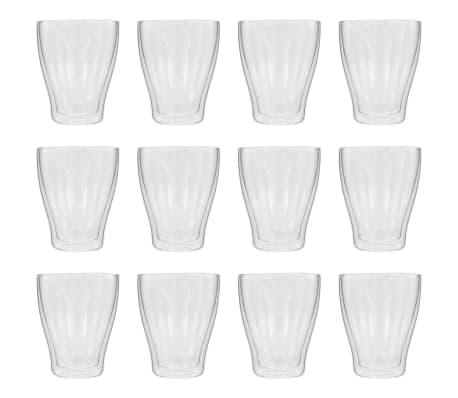 vidaXL Latte Macchiato-glas dubbelväggiga 12 st 370 ml