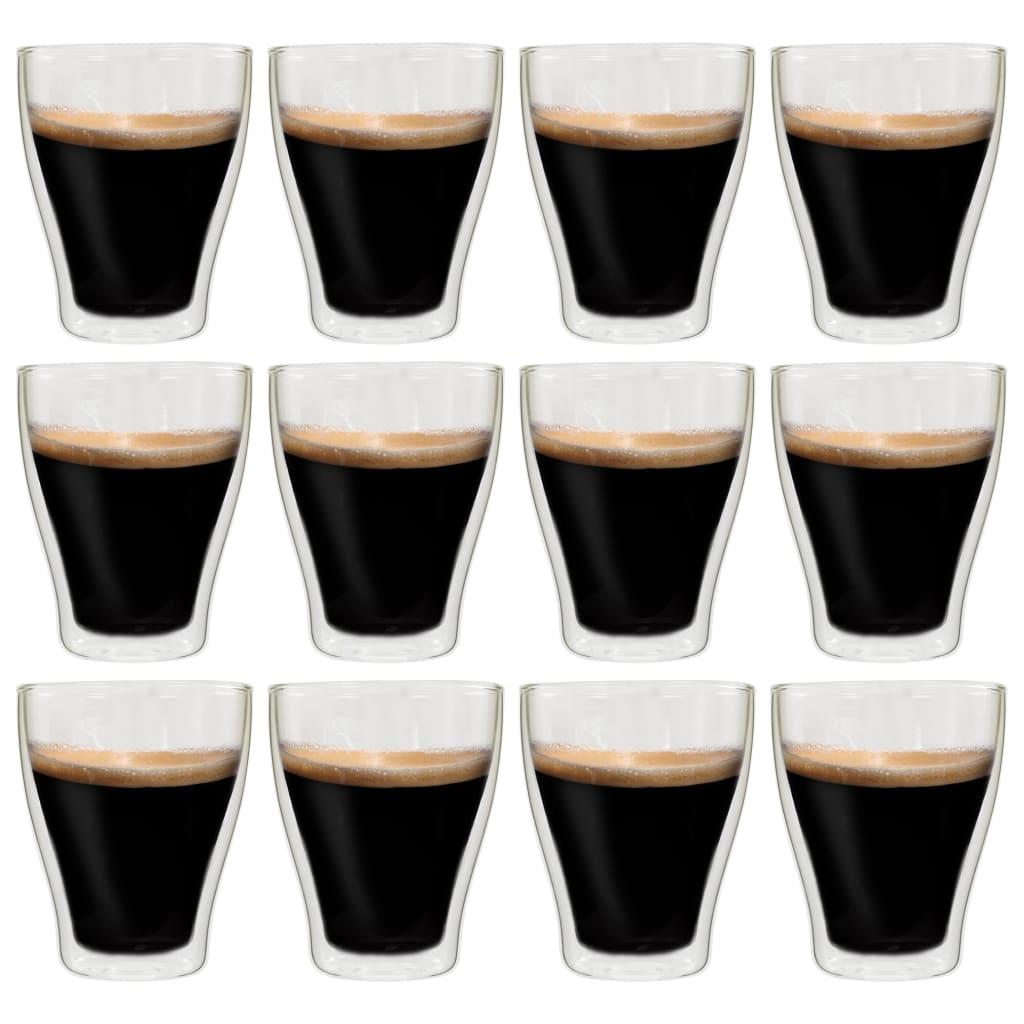 vidaXL Dvoustěnná termo sklenice na espresso 12 ks 370 ml