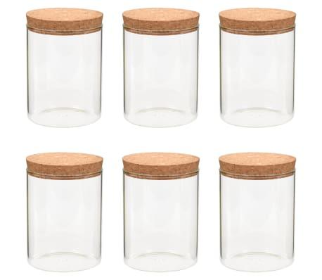 vidaXL Frascos de vidro com tampas de cortiça 6 pcs 650 ml