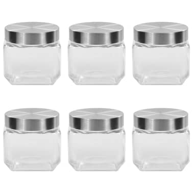 vidaXL Borcane depozitare, capac argintiu, 6 buc., 800 ml[1/5]