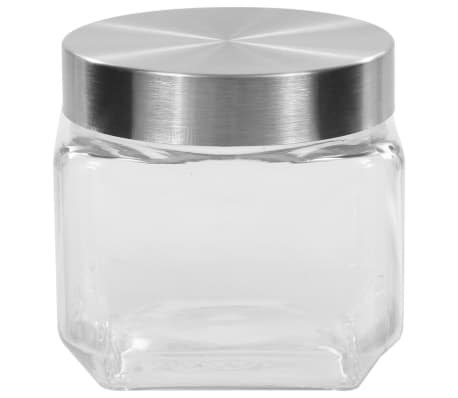 vidaXL Borcane depozitare, capac argintiu, 6 buc., 800 ml[3/5]
