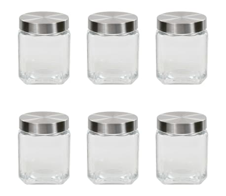 vidaXL Borcane depozitare, capac argintiu, 6 buc., 1200 ml[1/5]