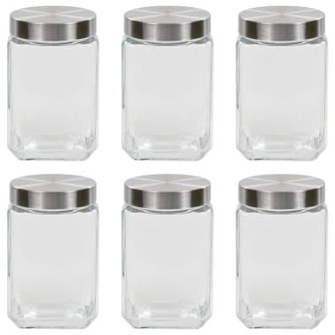 vidaXL Förvaringsburkar i glas med silvriga lock 6 st 1700 ml[1/5]