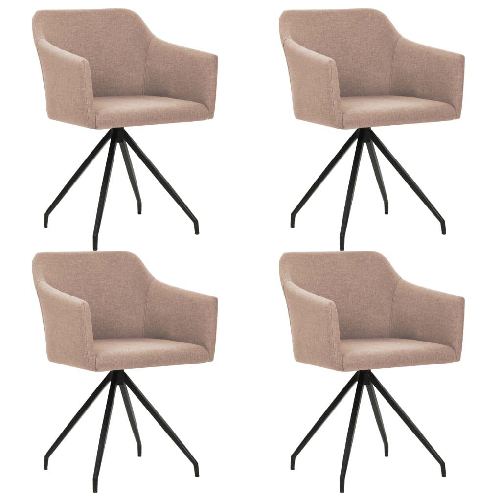 vidaXL Καρέκλες Τραπεζαρίας Περιστρεφόμενες 4 τεμ. Χρώμα Taupe Ύφασμα