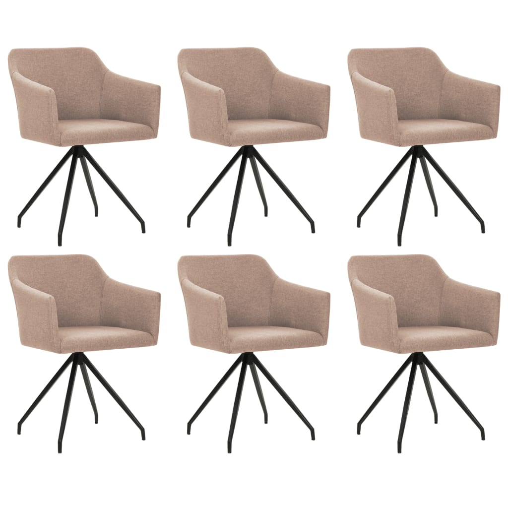 vidaXL Καρέκλες Τραπεζαρίας Περιστρεφόμενες 6 τεμ. Χρώμα Taupe Ύφασμα