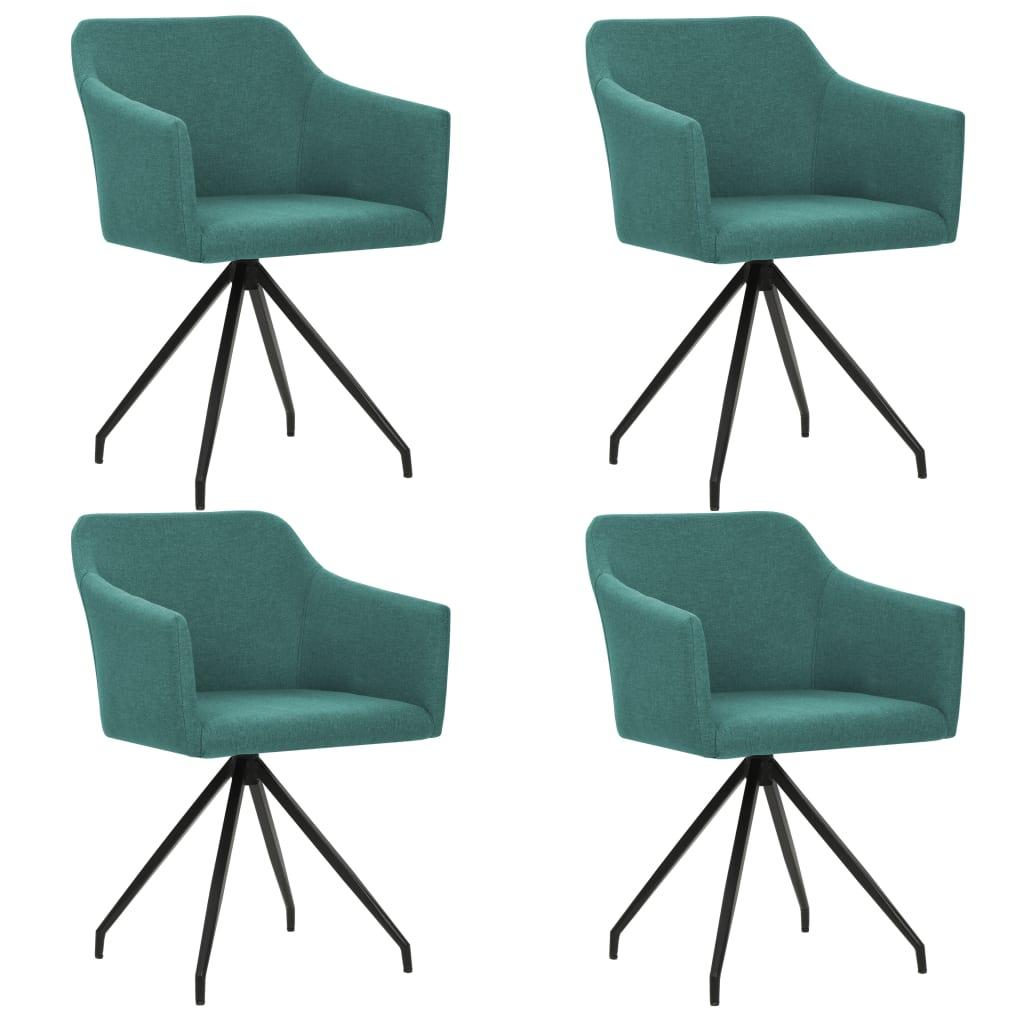 vidaXL Καρέκλες Τραπεζαρίας Περιστρεφόμενες 4 τεμ. Πράσινο Υφασμάτινες
