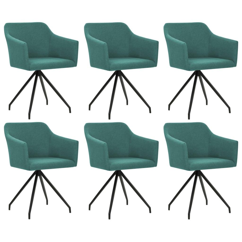 vidaXL Καρέκλες Τραπεζαρίας Περιστρεφόμενες 6 τεμ. Πράσινο Υφασμάτινες