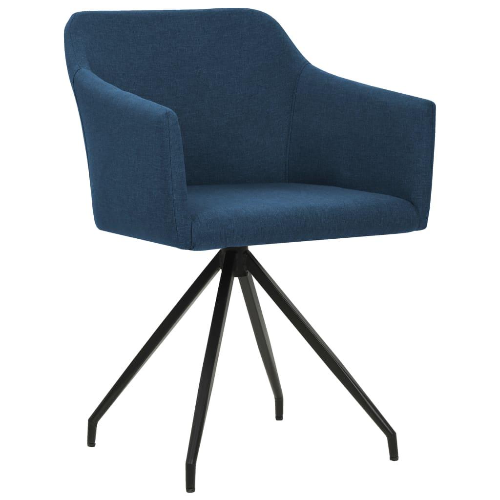vidaXL Eetkamerstoelen draaibaar 4 st stof blauw