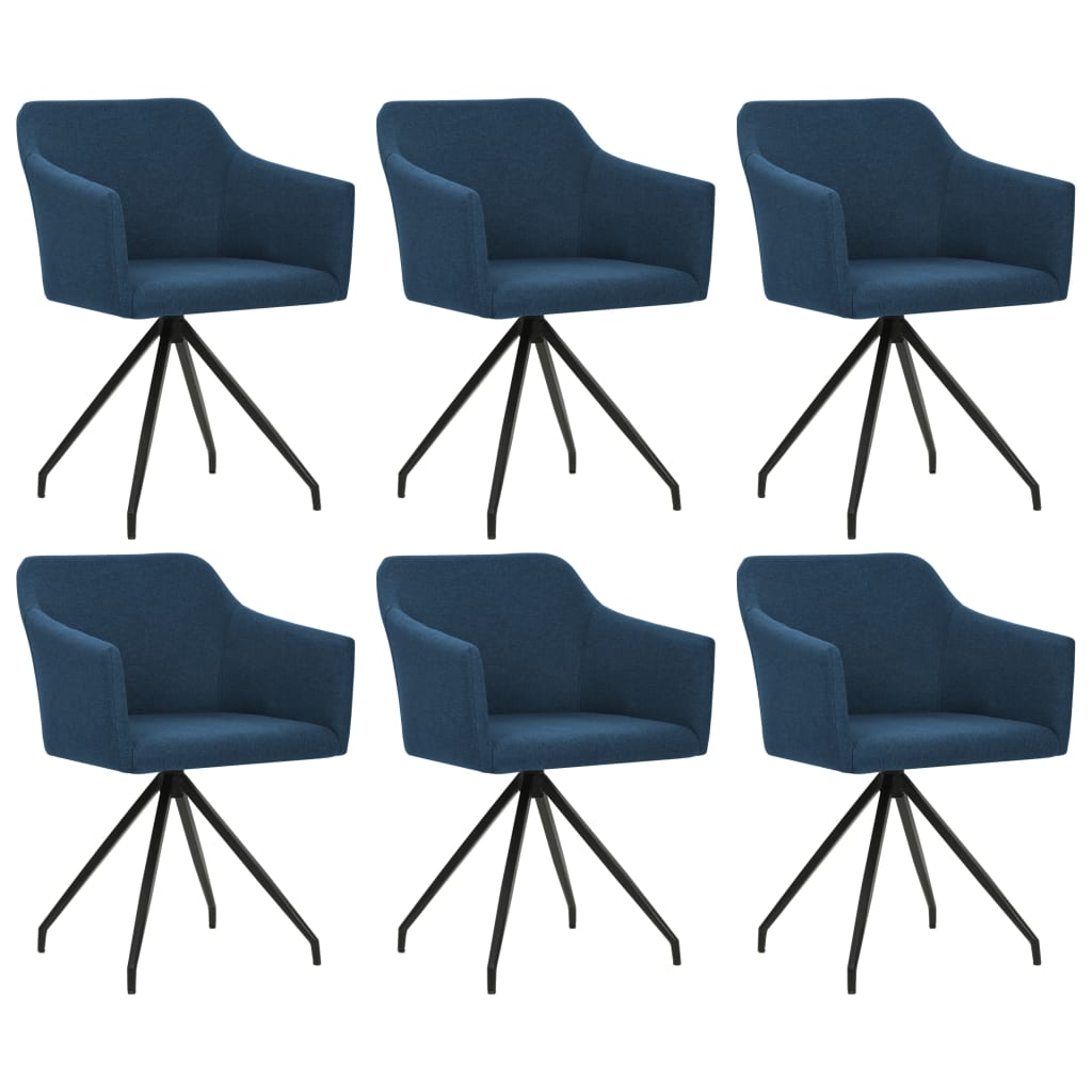 vidaXL Καρέκλες Τραπεζαρίας Περιστρεφόμενες 6 τεμ. Μπλε Υφασμάτινες
