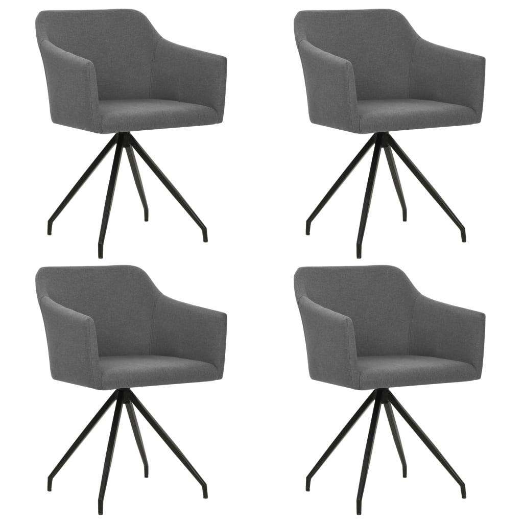 vidaXL Καρέκλες Τραπεζαρίας Περιστρεφόμενες 4 τεμ. Ανοιχτό Γκρι Ύφασμα