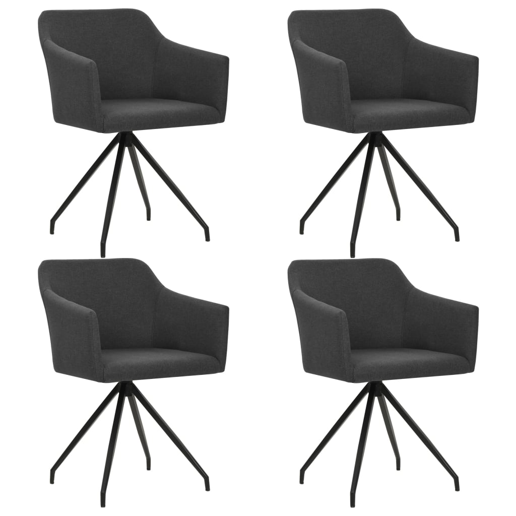vidaXL Καρέκλες Τραπεζαρίας Περιστρεφόμενες 4 τεμ. Σκούρο Γκρι Ύφασμα