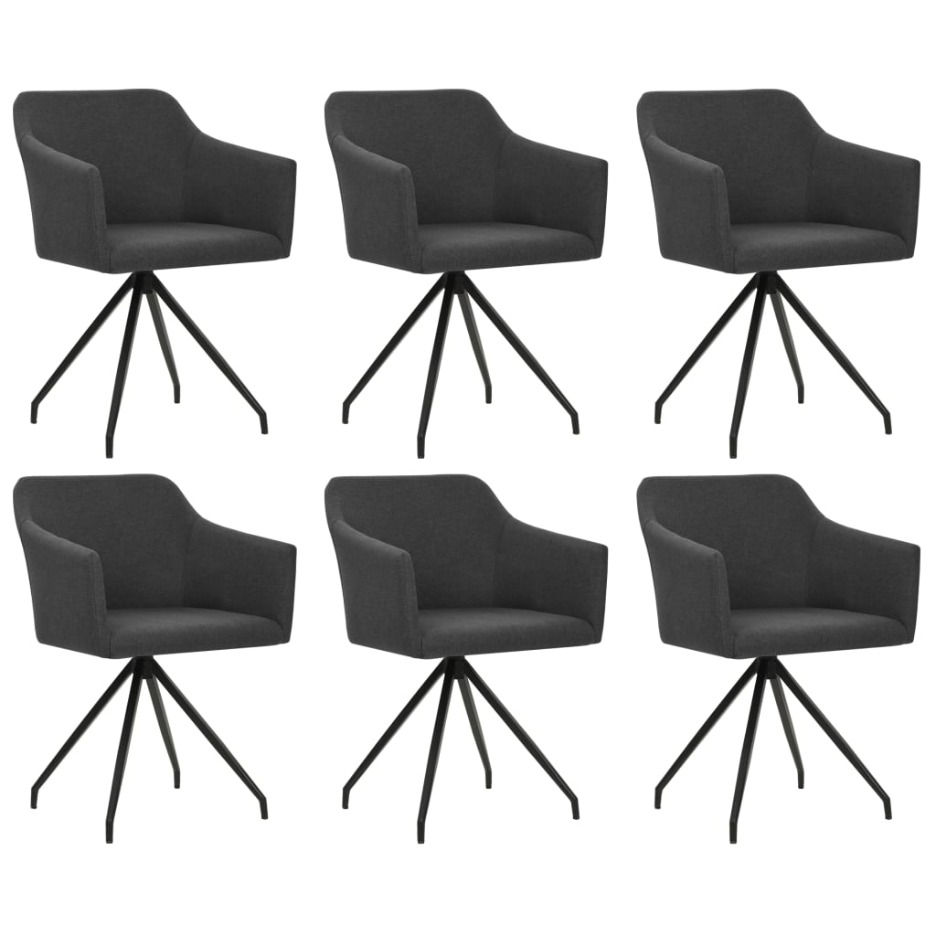 vidaXL Καρέκλες Τραπεζαρίας Περιστρεφόμενες 6 τεμ. Σκούρο Γκρι Ύφασμα