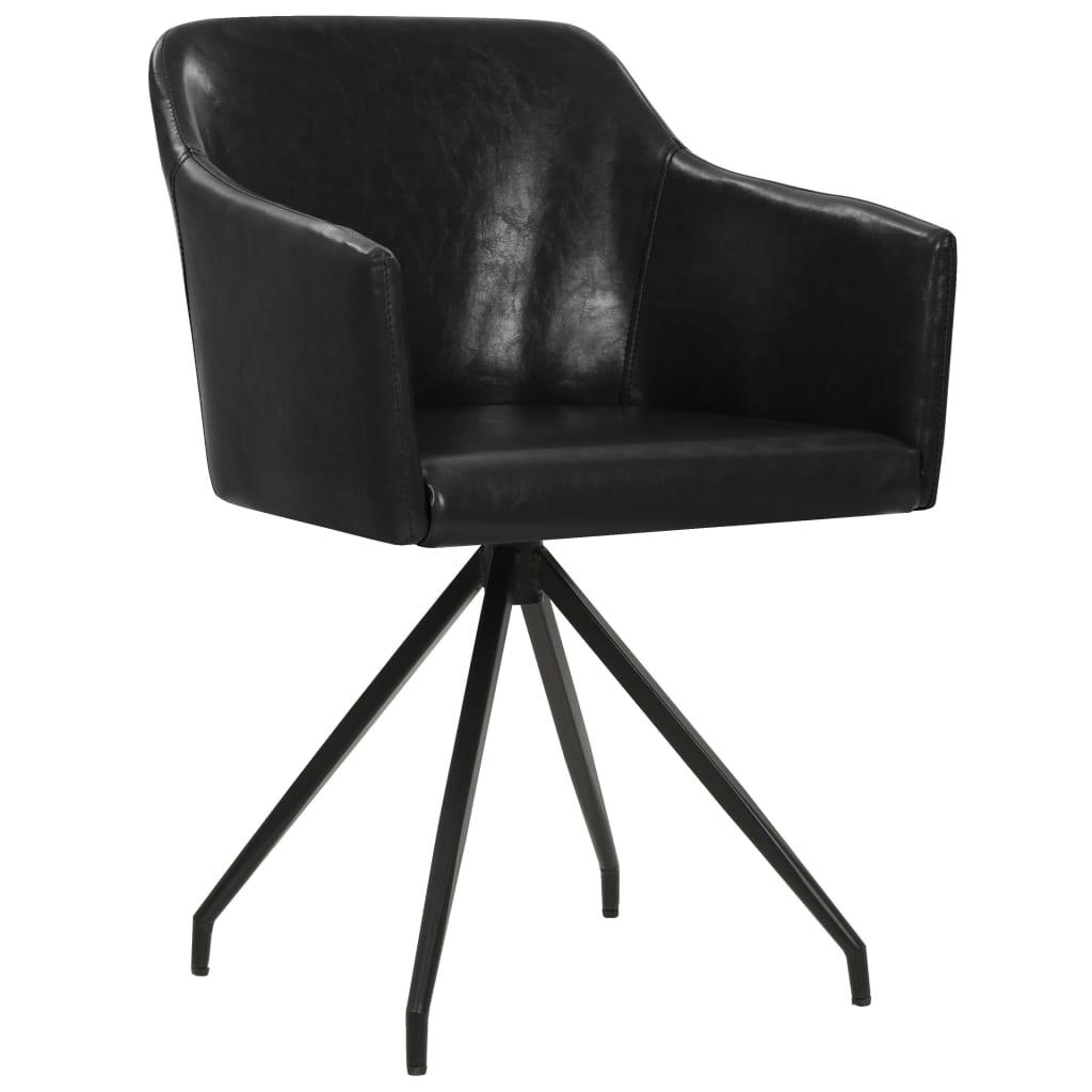 vidaXL Eetkamerstoelen draaibaar 6 st kunstleer zwart