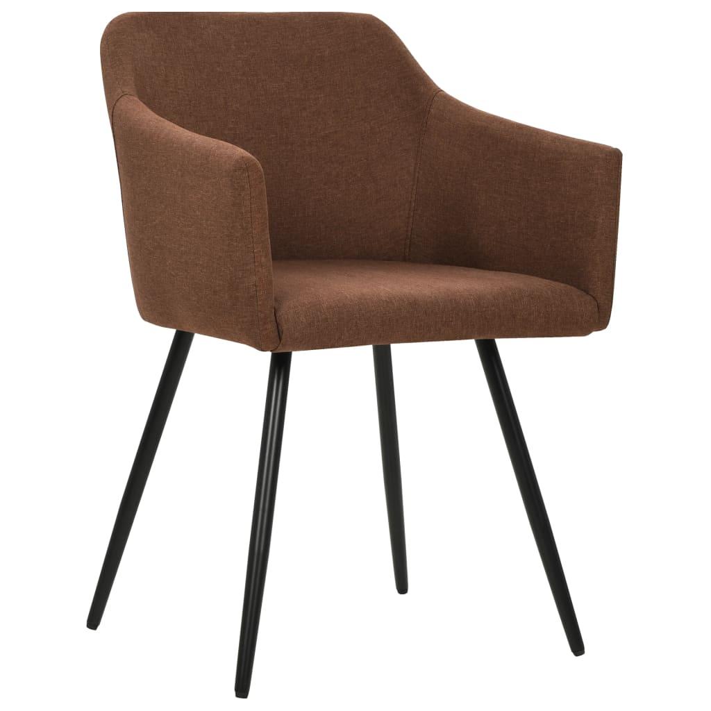 vidaXL Eetkamerstoelen 6 st stof bruin