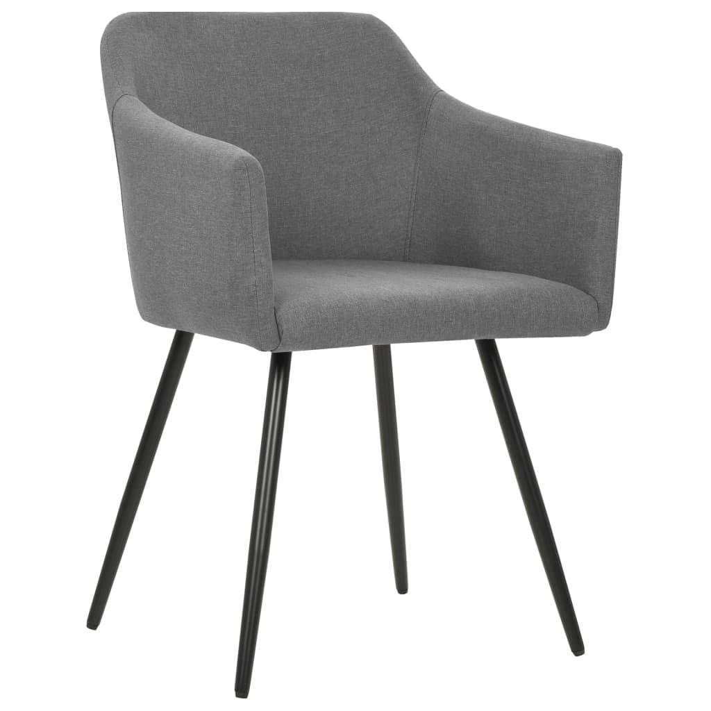Eetkamerstoelen 4 st stof lichtgrijs