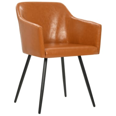 vidaXL Valgomojo kėdės, 4 vnt., rudos, dirbtinė oda[2/7]