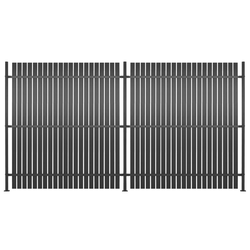vidaXL Panou gard, 2 buc., antracit, 360x180 cm, aluminiu vidaxl.ro