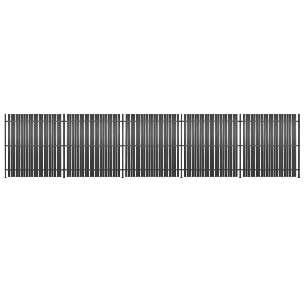 vidaXL Panou gard, 5 buc., antracit, 900x180 cm, aluminiu vidaxl.ro