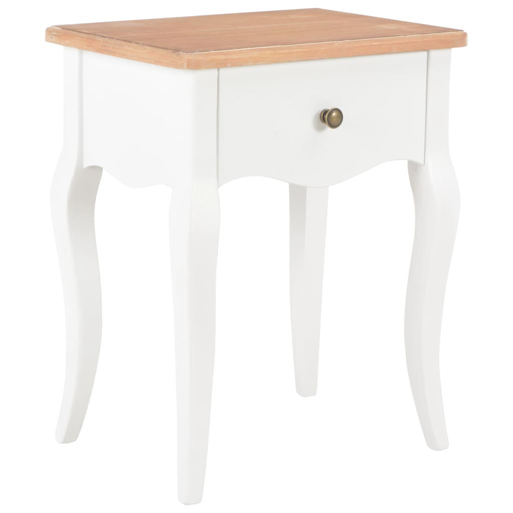 vidaXL Noční stolek bílý a hnědý 40 x 30 x 50 cm masivní borové dřevo