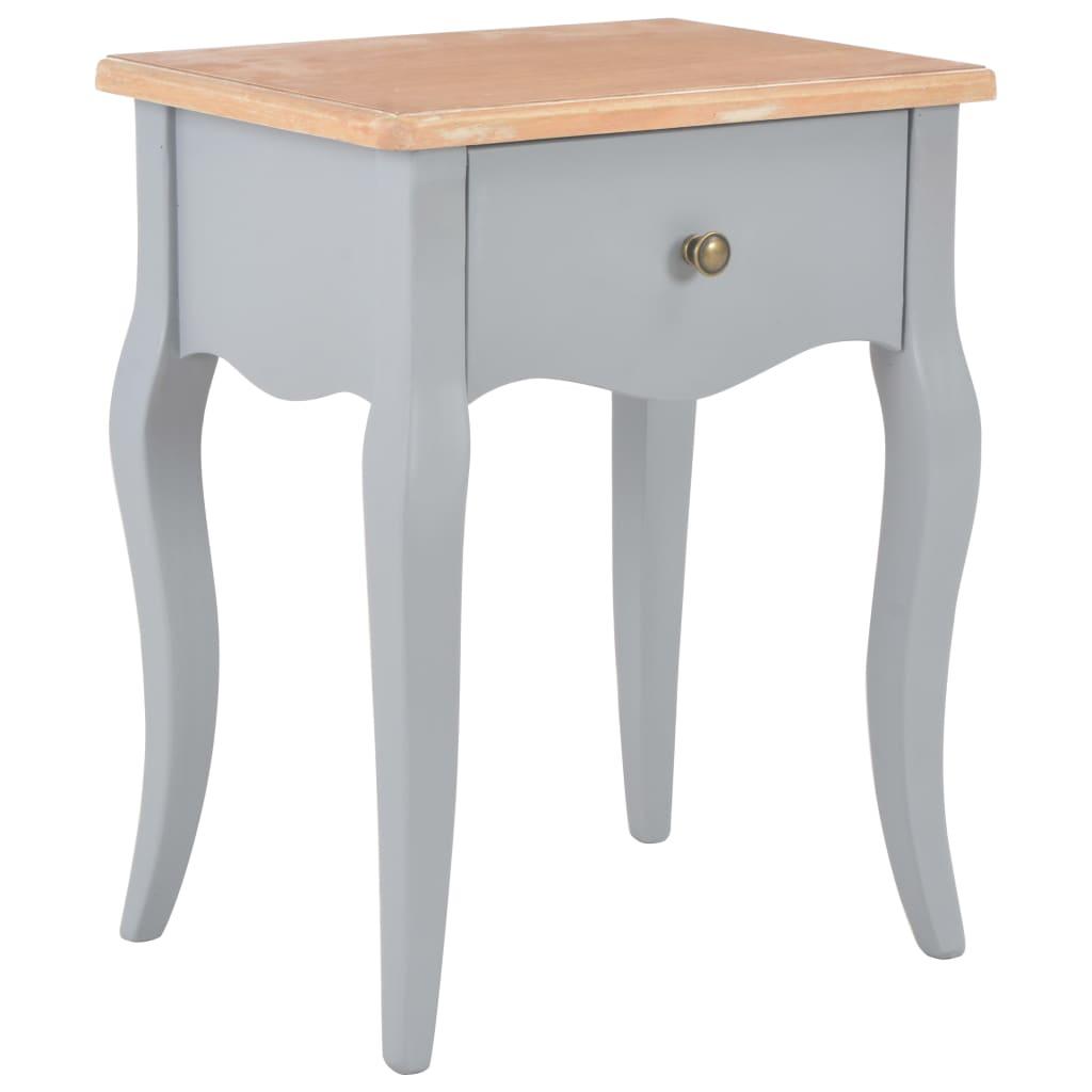 vidaXL Table de chevet Gris et marron 40x30x50 cm Bois de pin massif