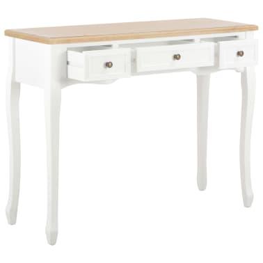 vidaXL Kosmetinis konsolinis staliukas su 3 stalčiais, baltas[2/7]