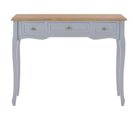 vidaXL Kosmetinis konsolinis staliukas su 3 stalčiais, pilkas[3/7]