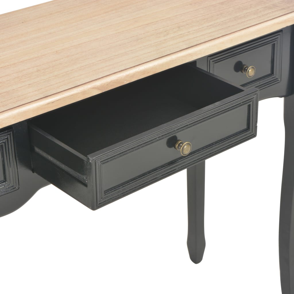 vidaXL Mesa consola tocador con 3 cajones negro[7/7]