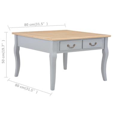 vidaXL Kavos staliukas, pilkos spalvos, 80x80x50cm, mediena[8/8]
