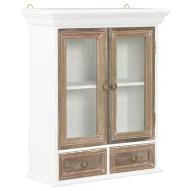 vidaXL Sieninė spintelė, baltos spalvos, 49x22x59cm, medienos masyvas[1/8]