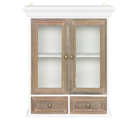 vidaXL Sieninė spintelė, baltos spalvos, 49x22x59cm, medienos masyvas[2/8]