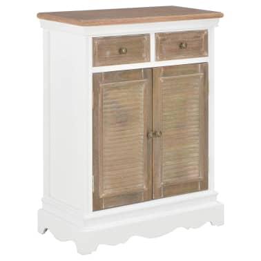 vidaXL Šoninė spintelė, baltos spalvos, 60x30x80cm, medienos masyvas[1/9]