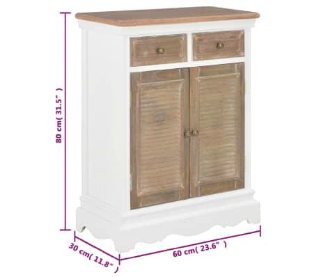 vidaXL Šoninė spintelė, baltos spalvos, 60x30x80cm, medienos masyvas[9/9]