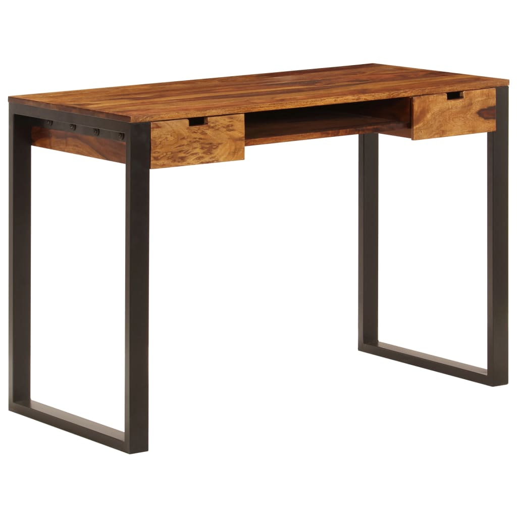 vidaXL Birou, 110 x 55 x 78 cm, lemn masiv de sheesham și oțel vidaxl.ro