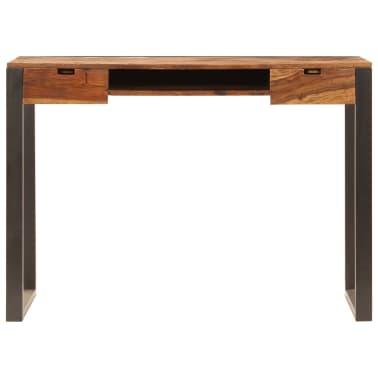 vidaXL Desk 110x55x78 cm Solid Sheesham Wood and Steel[4/10]