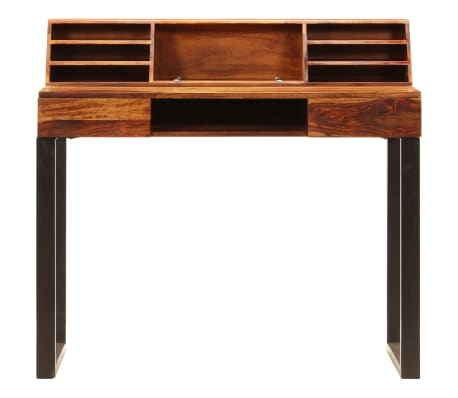 """vidaXL Desk 43.3""""x19.7""""x37"""" Solid Sheesham Wood and Steel[4/12]"""