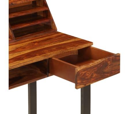 """vidaXL Desk 43.3""""x19.7""""x37"""" Solid Sheesham Wood and Steel[7/12]"""