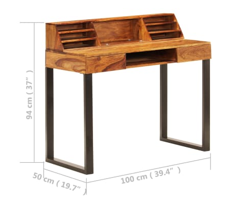 """vidaXL Desk 43.3""""x19.7""""x37"""" Solid Sheesham Wood and Steel[9/12]"""