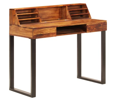 """vidaXL Desk 43.3""""x19.7""""x37"""" Solid Sheesham Wood and Steel[10/12]"""