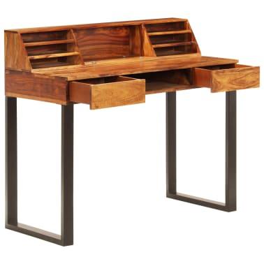 """vidaXL Desk 43.3""""x19.7""""x37"""" Solid Sheesham Wood and Steel[2/12]"""